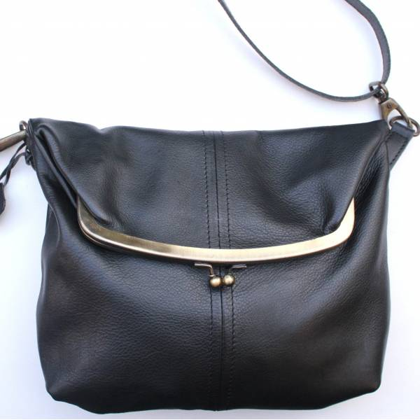 Dublin Medium Clip Bag Black Leather